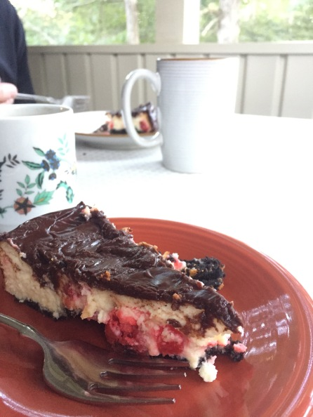 Cheesecake & Coffee on the porch